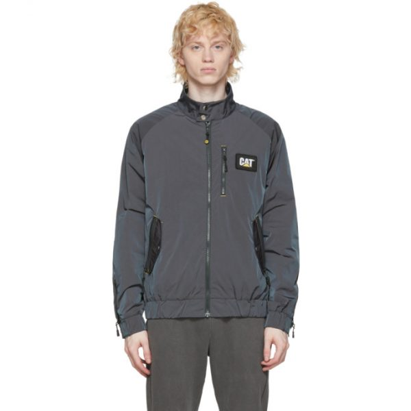 John Elliott Grey CAT Edition Iridescent Nylon Harrington Jacket