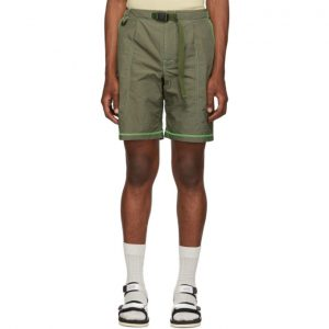 John Elliott Khaki High Shrunk Nylon Mountain Shorts