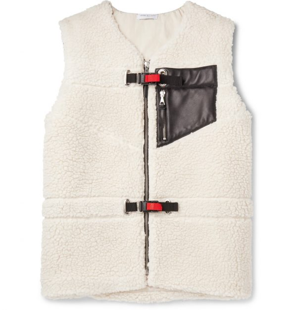John Elliott - Leather-Trimmed Polar Fleece Gilet - Men - White