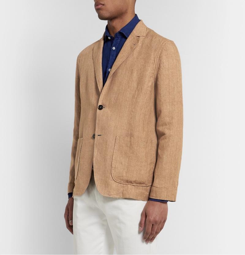 Lardini Tan Unstructured Melange Linen Blazer