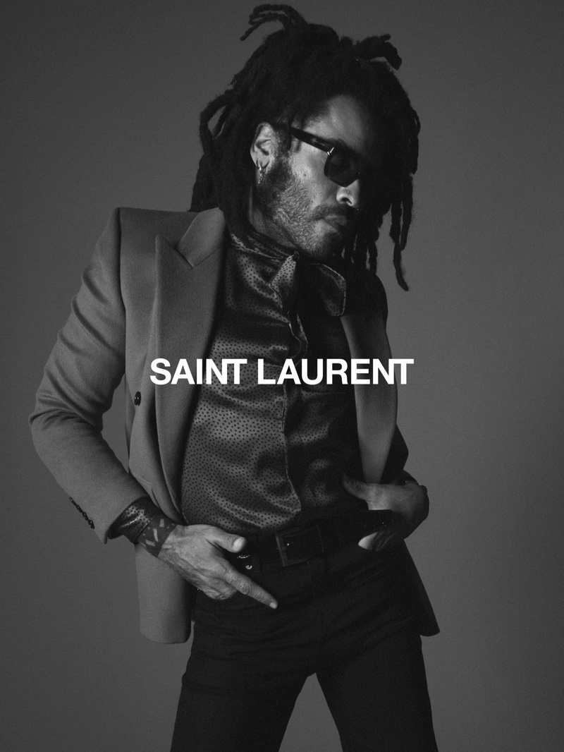 Singer and actor Lenny Kravitz fronts Saint Laurent's fall 2020 campaign.