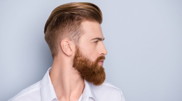 Male Model Trendy Hairstyle Beard Fade