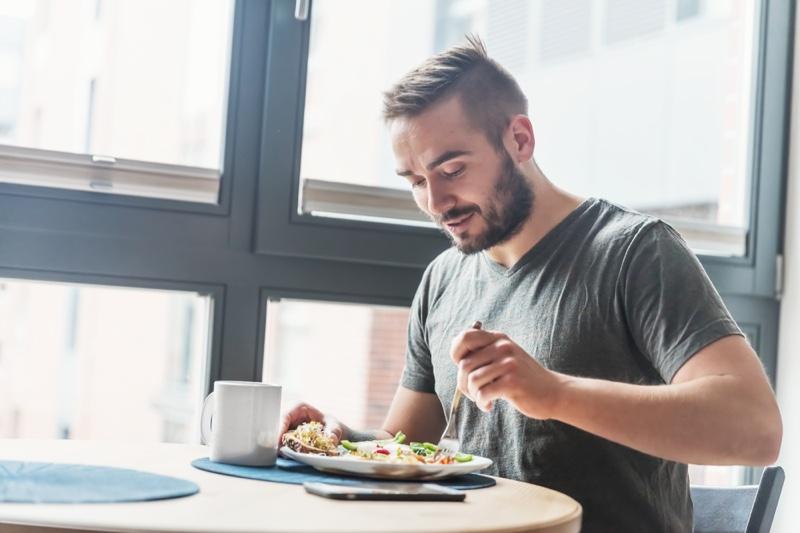 Man Eating Healthy Table Beard