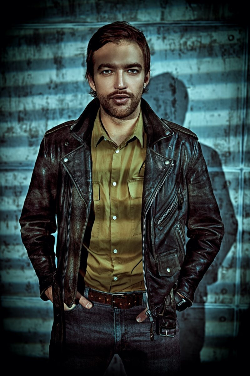 Man in Stylish Distressed Leather Biker Jacket