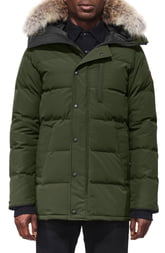 Men's Canada Goose 'Carson' Slim Fit Hooded Parka With Genuine Coyote Fur Trim, Size Small - Green