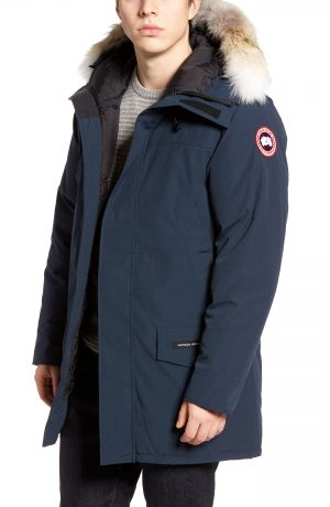 Men's Canada Goose Langford Slim Fit Down Parka With Genuine Coyote Fur Trim, Size X-Large - Blue