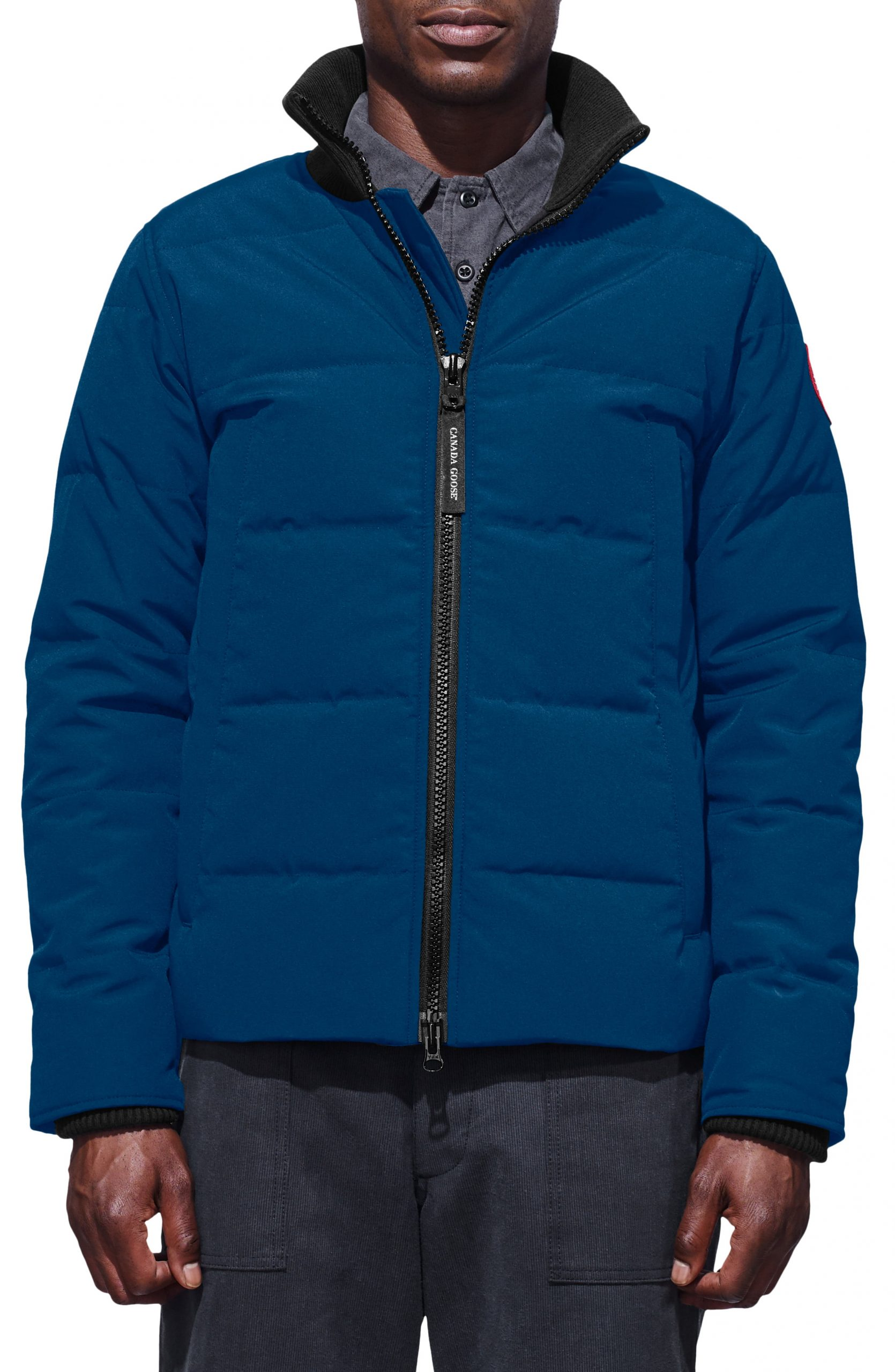 Men's Canada Goose 'Woolford' Slim Fit Down Bomber Jacket, Size Large - Blue