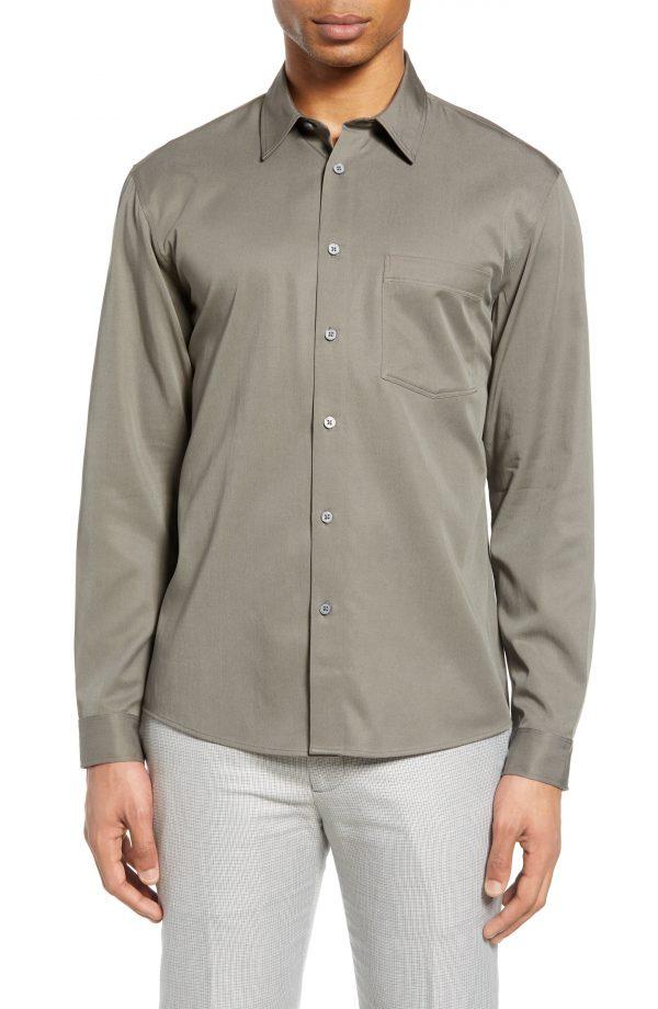 Men's Club Monaco Solid Button-Up Shirt, Size Medium - Grey