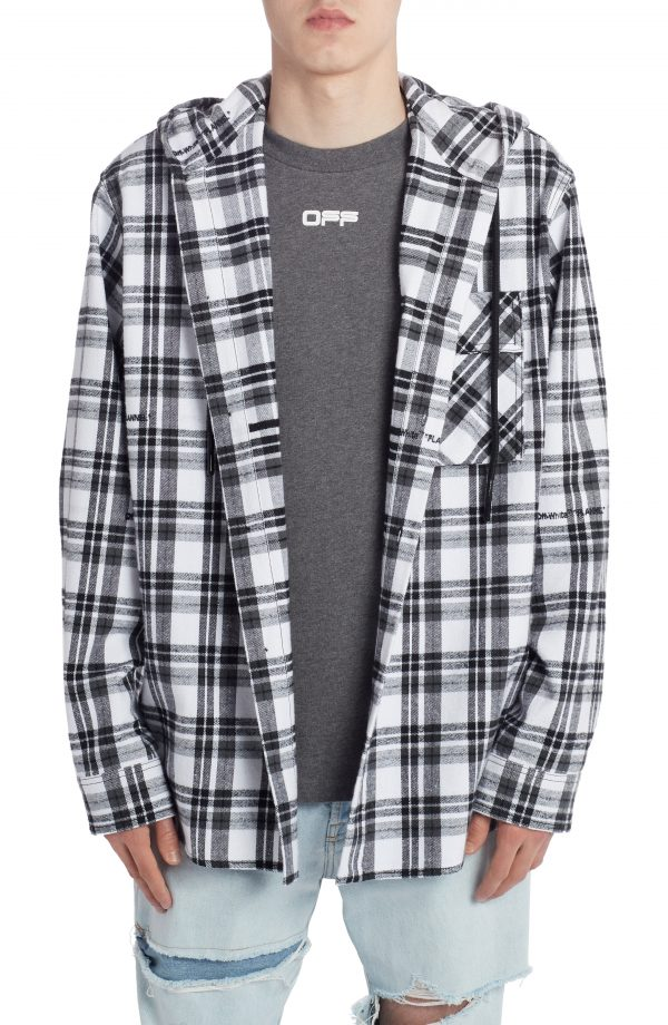 Men's Off-White Check Flannel Hooded Button-Up Shirt, Size Large - White