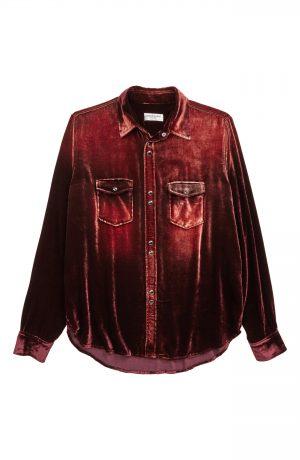 Men's Saint Laurent Oversize Velvet Long Sleeve Shirt, Size Small - Red