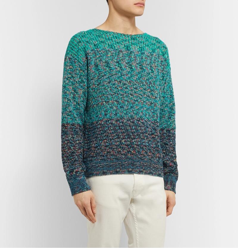 Missoni Turquoise Melange Cotton-Blend Sweater
