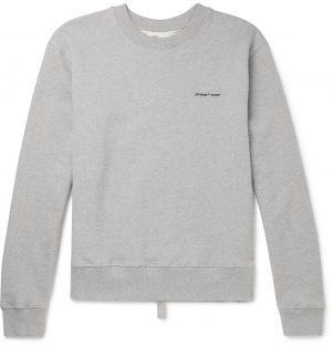 Off-White - Logo-Print Loopback Cotton-Jersey Sweatshirt - Men - Gray