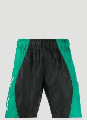 Off-White Logo Print Swim Shorts in Green size L