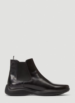 Prada Americas Cup Leather Boots in Black size UK - 09