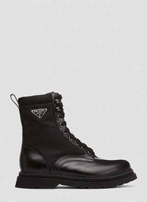Prada Logo Plaque Boots in Black size UK - 10