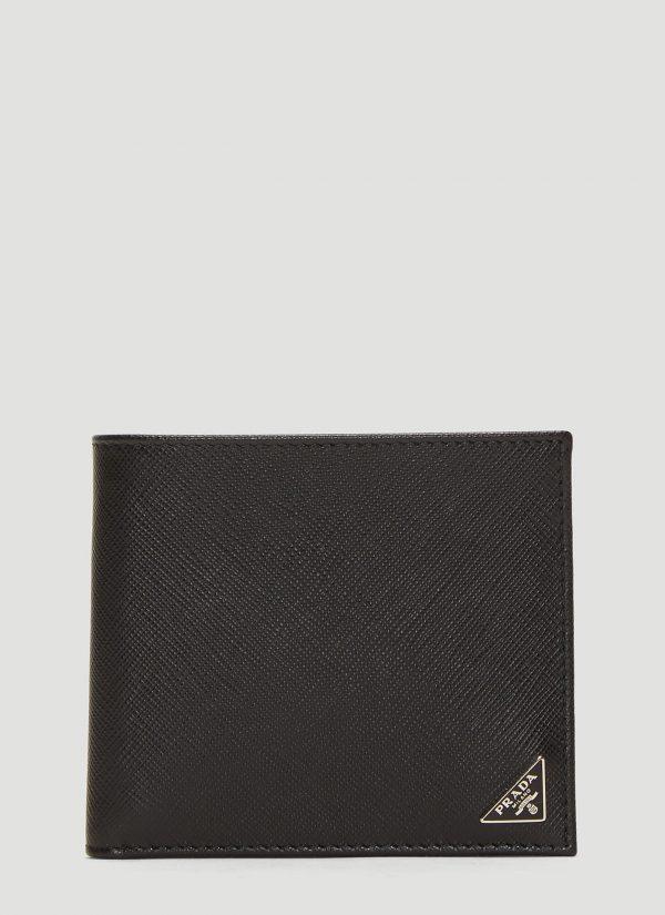 Prada Saffiano Leather Bi-fold Wallet in Black size One Size