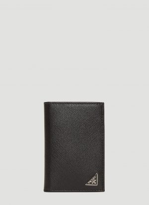 Prada Saffiano Leather Card Holder in Black size One Size