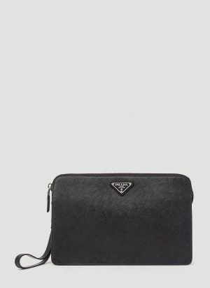 Prada Saffiano Leather Clutch Bag in Black size One Size