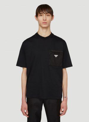 Prada Signature Logo Plaque T-Shirt in Black size M