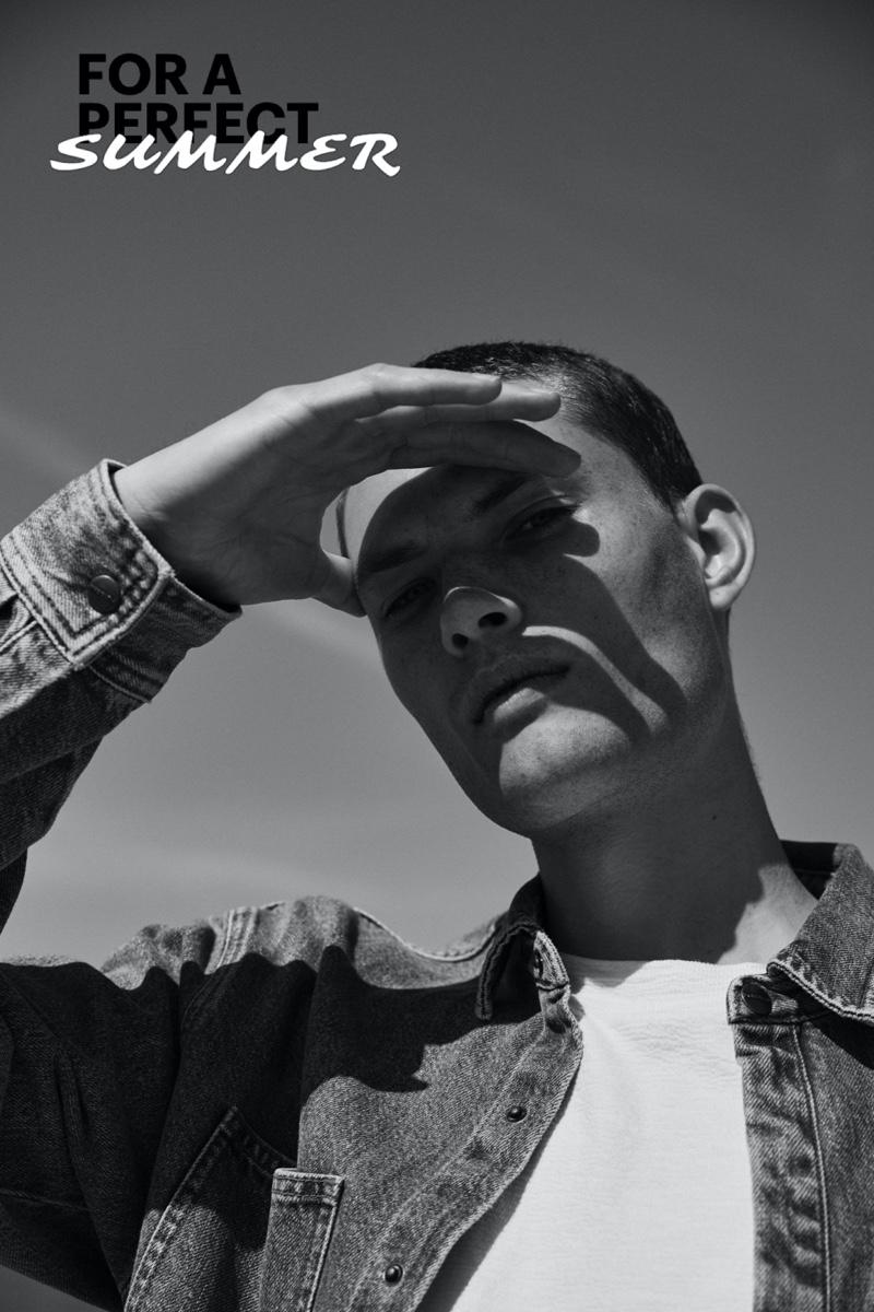 Pull & Bear enlists William Los to model summer essentials like the denim jacket.