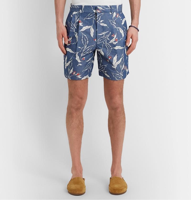 Rag and Bone Blue Jackson Floral-Print Cotton-Blend Canvas Shorts