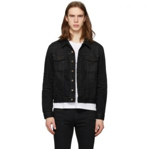 Saint Laurent Black Coated Classic Denim Jacket