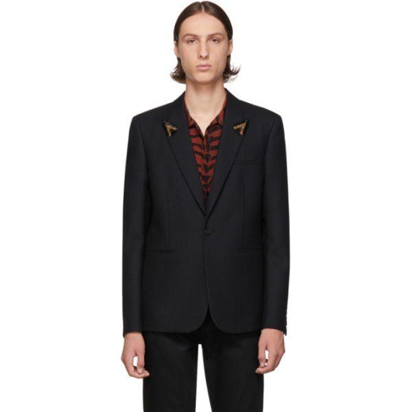 Saint Laurent Black Striped Beaded Lapel Blazer