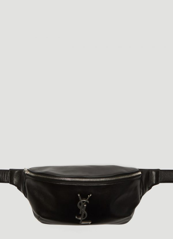 Saint Laurent Logo Monogram Belt Bag in Black size One Size