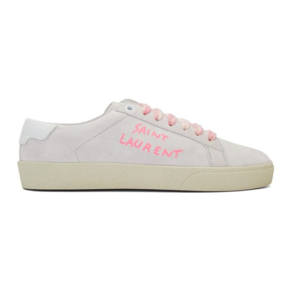 Saint Laurent Off-White and Pink Court Classic SL/06 Sneakers
