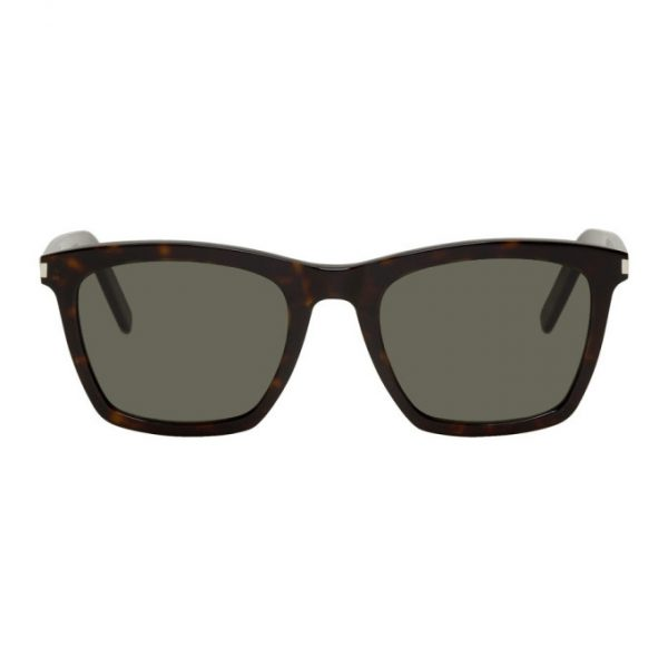 Saint Laurent Tortoiseshell and Grey SL 281 Slim Sunglasses