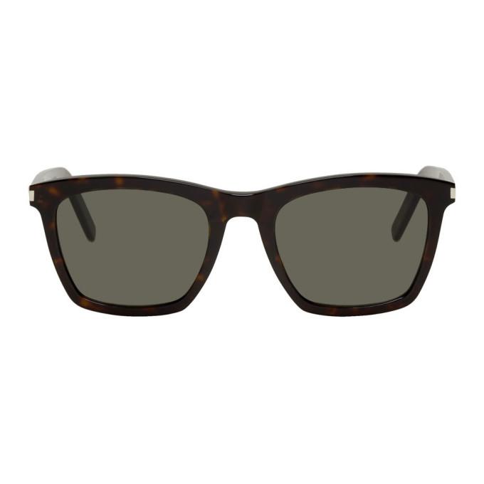 Saint Laurent Tortoiseshell and Grey SL 281 Slim Sunglasses