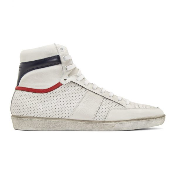 Saint Laurent White and Navy Court Classic SL/10 Sneakers
