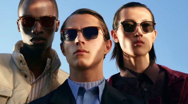 "Models Bakay Diaby, Andrea Quaranta, and Meng Yu Qi star in Salvatore Ferragamo's ""Italian Roads"" eyewear campaign."