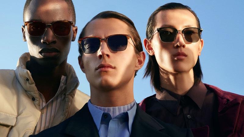 "Models Bakay Diaby, Andrea Quaranta, and Meng Yu Qi star in Salvatore Ferragamo's ""Italian Roads"" eyewear campaign."