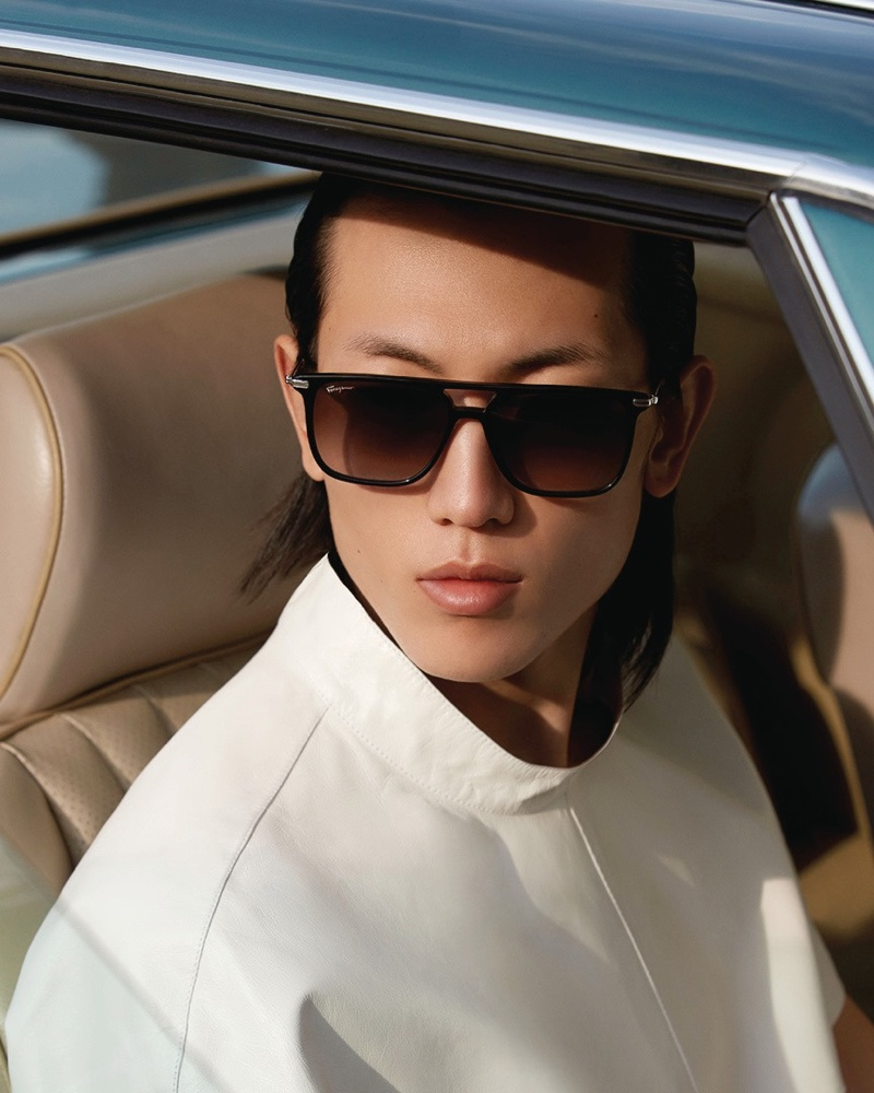 Meng Yu Qi connects with Salvatore Ferragamo for its new men's eyewear campaign.