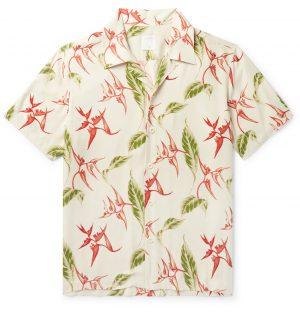 Sandro - Camp-Collar Printed Woven Shirt - Men - Neutrals