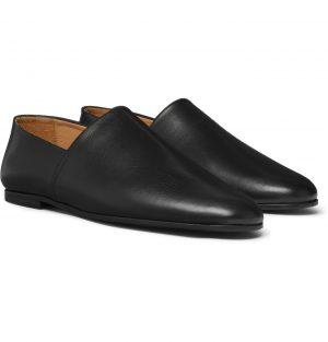 Sandro - Collapsible-Heel Leather Slippers - Men - Black