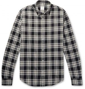 Sandro - Slim-Fit Checked Cotton Shirt - Men - Black
