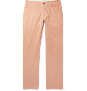 Sandro - Slim-Fit Washed Cotton-Blend Chinos - Men - Pink