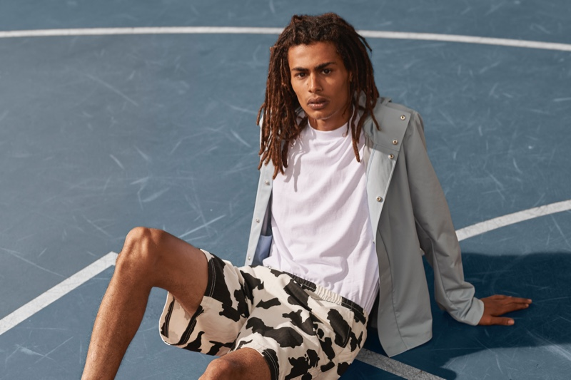 Model Mohamed Ben Salem wears cruelty-free garments from Save The Duck's spring-summer 2020 collection.