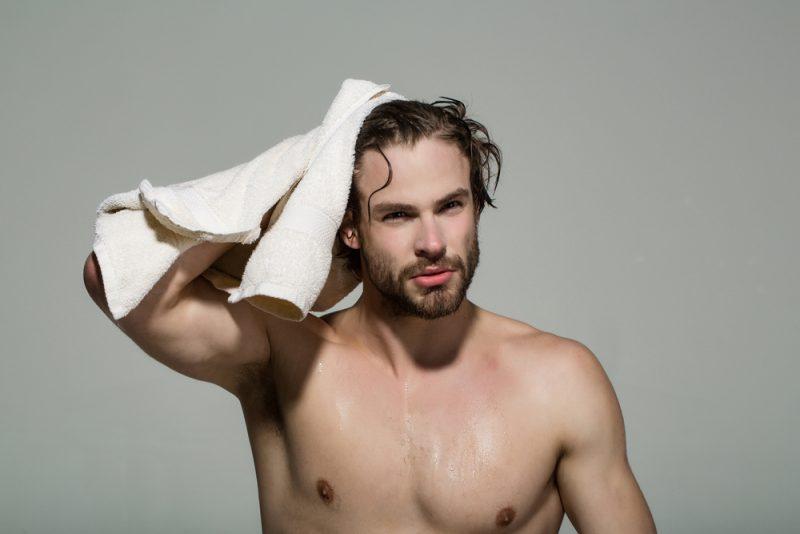 Shirtless Man with Wet Hair