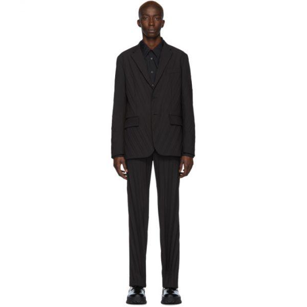Valentino Black Plisse Suit