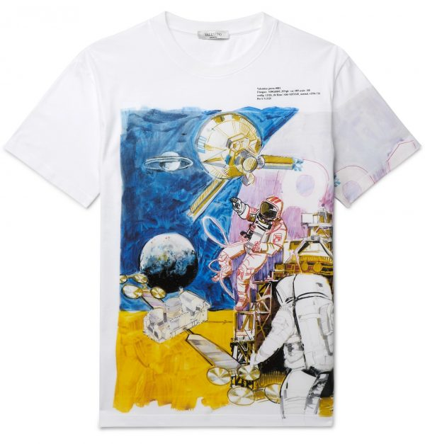 Valentino - Slim-Fit Printed Cotton-Jersey T-Shirt - Men - White