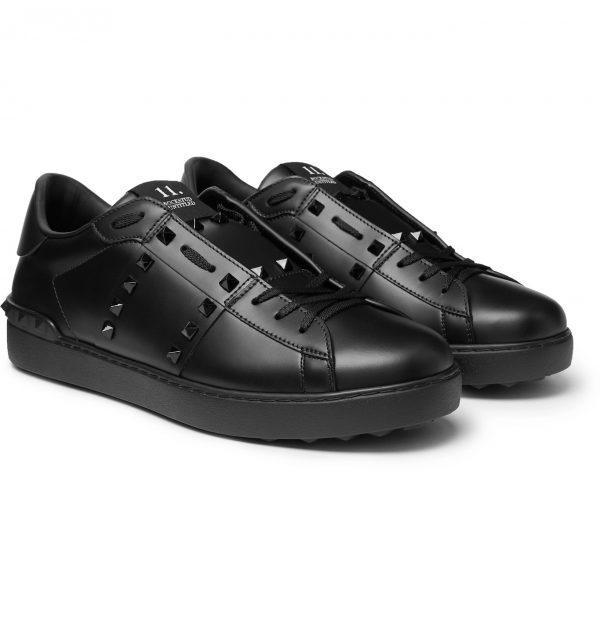 Valentino - Valentino Garavani Open Rockstud Leather Sneakers - Men - Black
