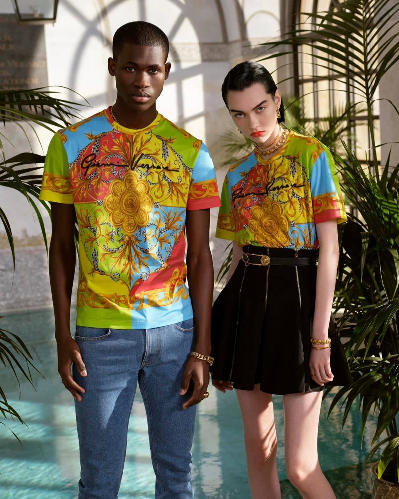 Ismael Savane sports Versace's summer capsule print t-shirt.