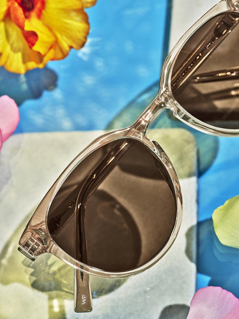 It's a crystal affair, nutmeg crystal to be specific, with Warby Parker's Wright sunglasses.