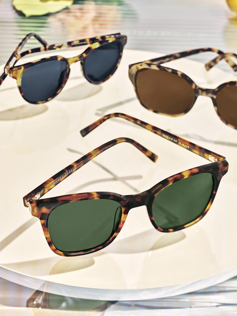 Warby Parker showcases its tortoise style sunglasses with its Wright, Lila, and Griffin models.