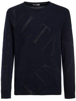 Wool Blend Intarsia Knit Sweater