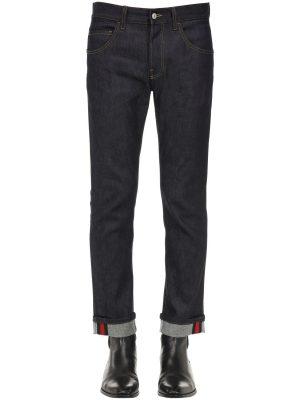 17.5 Cotton Blend Jeans W/ Web Detail