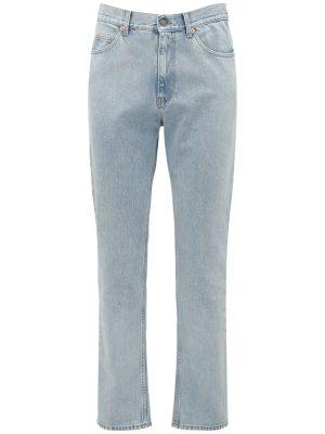 20cm Logo Detail Cotton Denim Jeans